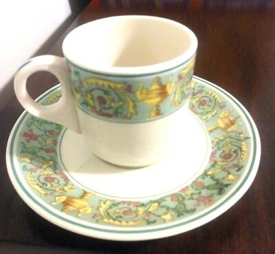 Buffalo China Ye Olde Ivory Demitasse Cup & Saucer Green Band Urns Flowers