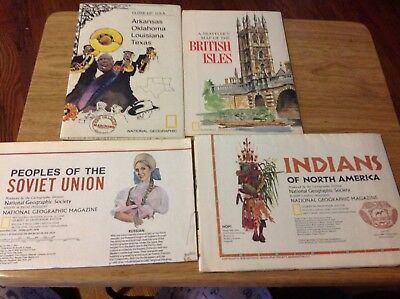 Vintage National Geographic Maps - Set of 4