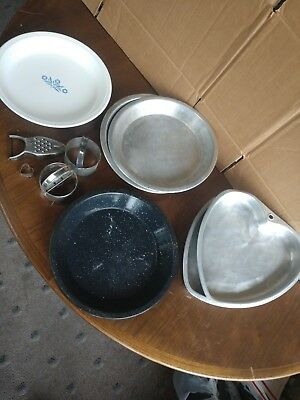 "Lot vintage pie pans heart shaped , enamel, Corning Ware 9"", more, & cookie cutr"
