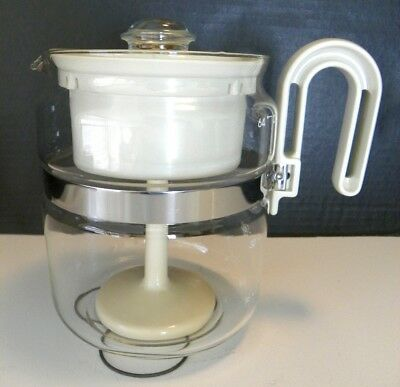 NOS Vintage Gemco Glass-Perk Coffee Maker Almond Stovetop Percolator USA, 4-8 C