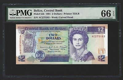 1991 Belize $2 Dollars, PMG 66 EPQ GEM UNC, P-52b 2nd Finest Graded, QEII Note