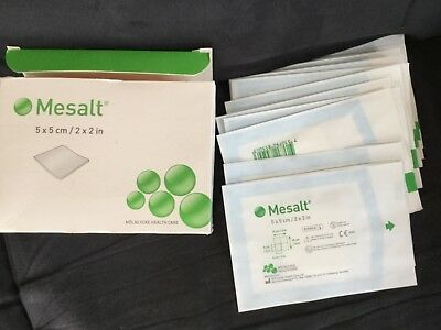 MOLNLYCKE Mesalt Sodium Chloride Wound Dressing 16 Count 5x5 cm 2x2 in new