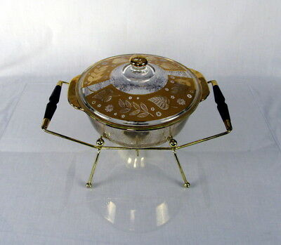 Vintage Fire King Chafing Dish Mid-Century Modern Buffet Server Gold Leaves