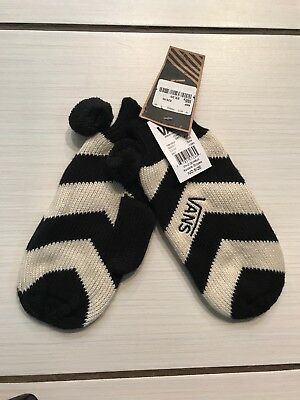 Brand New With Tags Girls Vans Black And White Chevron Mittens/gloves