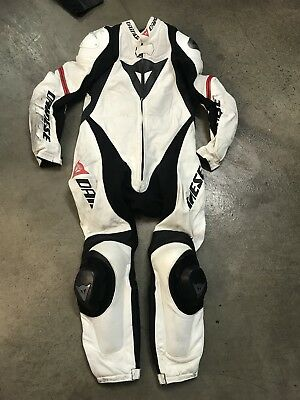 Dainese One Piece White Leather Motorcycle Suit Size EUR 52 Street Bike Racing