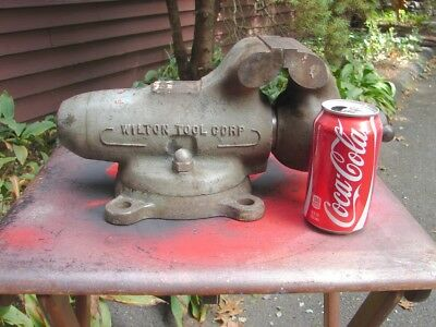 """WILTON #4 Heavy Duty Bullet Vise 4"""" Jaws with Swivel Base GOOD WORKING CONDITION"""