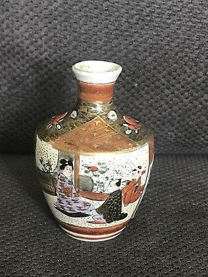Exquisite Antique Handpainted Miniature Satsuma Vase Enamels & Gilt Meiji Period