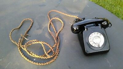 vintage telephone black rotary chrome dial gpo706f early 1961 model