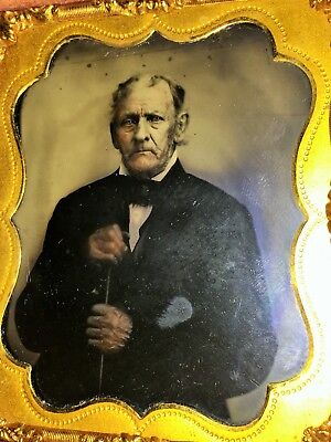Old Photo Ambrotype Old Man Cane Nice Detail Veins Wrinkles Famous Politician ?