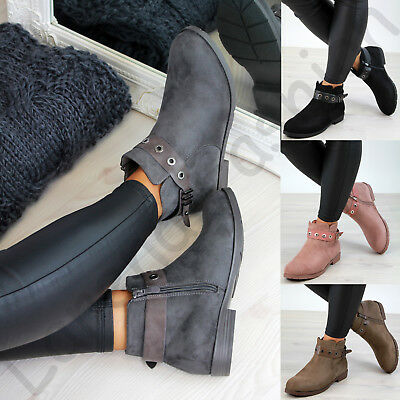 Details about  /Women British Motor Casual Block Low Heel Round Toe Lace Ups Ankle Boots 34//43 L