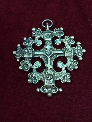 Antique Vintage Brass CRUSADER CROSS PENDANT FOR NECKLACE Old Beautiful!