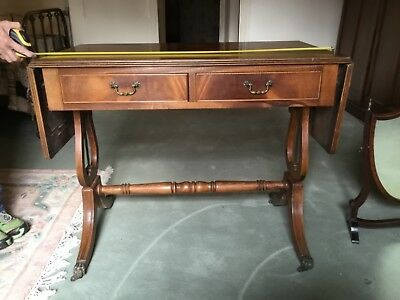 Lyre End Mahogany Table with Drop Leaves