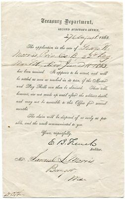 1863 Civil War Treasury Application for Private Morris DOW 22nd Maine Infantry
