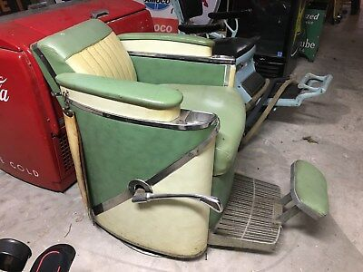 Old Barber Chairs >> 3 Lot Antique Barber Chairs Vintage Koken President Porcelain Theo A Kochs Old