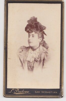 Victorian cdv photo young lady wearing hat San Sebastian Spain  photographer