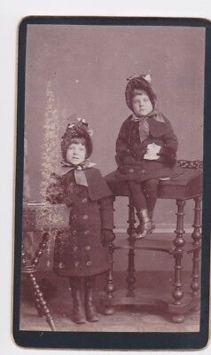 Victorian cdv photo two welll dressed girls  unstated  photographer