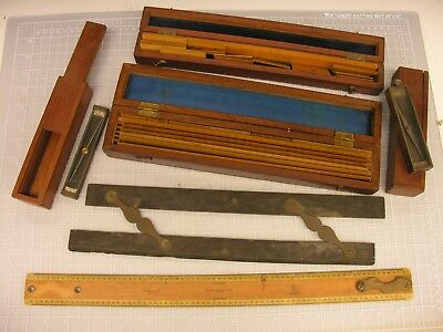 ~ Group, Early Military School Engineering Items, Rules, Trough Compasses ~