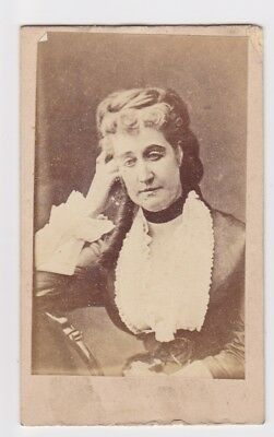 Victorian cdv photo portrait lady plaited hair unstated  photographer