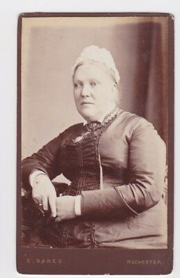 Victorian cdv photo stout lady wearing bonnet Rochester  photographer