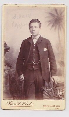 Victorian cdv photo young man three piece suit  London  photographer