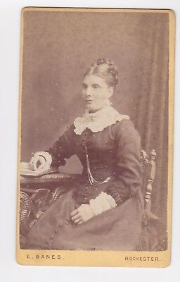 Victorian cdv photo lady seated plaited bun Rochester  photographer