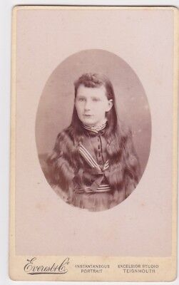 Victorian cdv photo portrait girl very long hair Teignmouth photographer
