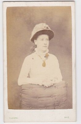 Victorian cdv photo portrait young lady wearing hat Rye  photographer