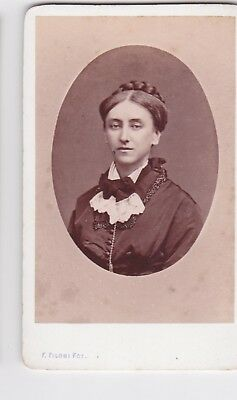 Victorian cdv photo portrait young lady plaited bun Roma Italy  photographer