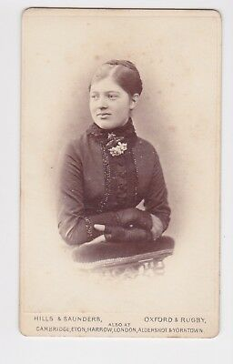 Victorian cdv photo young lady plaited bun Oxford & Rugby  photographer