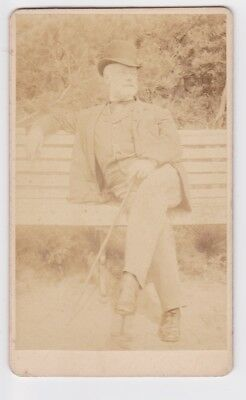 Victorian cdv photo man on park bench bowler hat unstated  photographer
