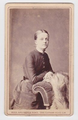 Victorian cdv photo young lady buttoned blouse London photographer