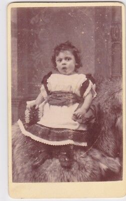 Victorian cdv photo child seated frilly frock Reigate   photographer