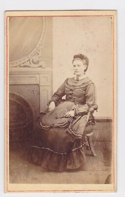 Victorian cdv photo young lady seated Southwark Park London   photographer