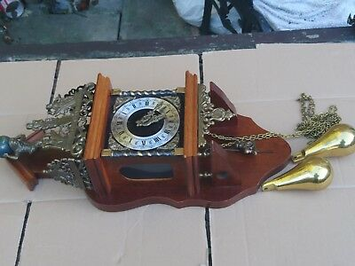 Vintage Dutch Made Twin Pear Weight Wall Clock With Franz Hermle Movement In Fwo