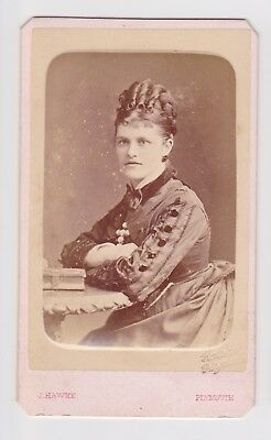 Victorian cdv photo young woman plaited bun ringlets Plymouth  photographer
