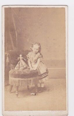 Victorian cdv photo girl Helen W S Hope with doll 1868 Liverpool  photographer