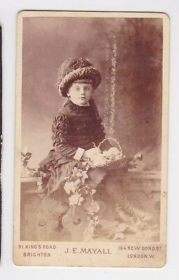 Victorian cdv photo girl wearing hat with basket Brighton & London  photographer