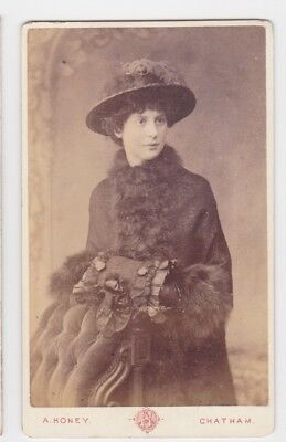 Victorian cdv photo young woman standing hat coat furs Chatham  photographer