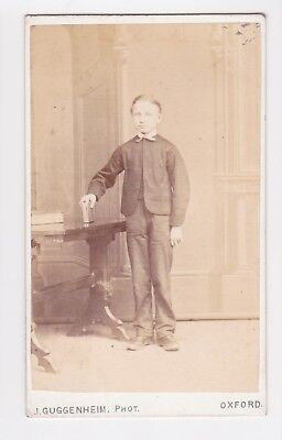 Victorian cdv photo boy standing hand on book Oxford  photographer
