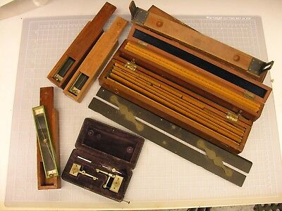 ~ Group, Early Military School Engineering Items, Rules, Trough Compasses 2 ~