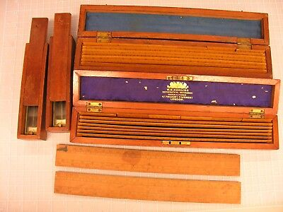 ~ Group, Early Military School Engineering Items, Rules, Trough Compasses #3 ~