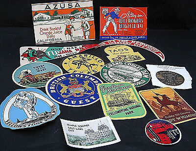 Lot #2 15 Motoring Decals Stickers Travel Gasoline National Park Tourist ca 1938