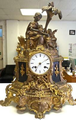 Large Antique French 19thc Gt Bronze Figural 8 day Bell Striking Mantle Clock