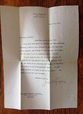 1917 Typed Letter Signed John D. Rockefeller - Golf House, Lakewood NJ