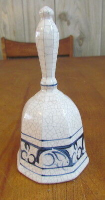 """Dedham Pottery Potting Shed 7"""" bell with ringer hand painted 1991 rabbits"""