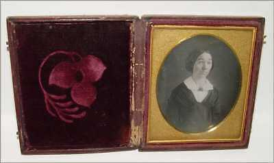 Daguerreotype Photo 6th Plate Lady w Coiffure Hair Large Brooch Pin