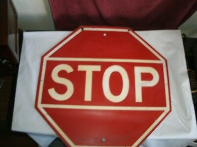 """Rare Vintage Stop Sign 18"""" Steel Painted"""