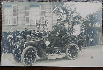 Vintage Car Battle Of Flowers Nice France Postcard