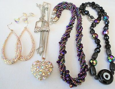 Good vintage a.b crystal bead necklace + 2 pairs gold metal earrings + ring + 2