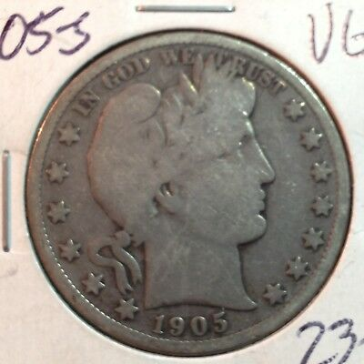 1905-S  VG   Barber Half Dollar   LY and part of IT